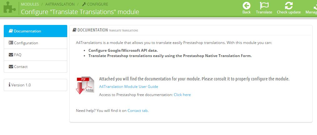 Prestashop Module Translate Translations - welcoming screen