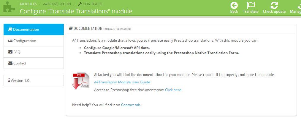 Prestashop Module Translate Translations - welcoming screen