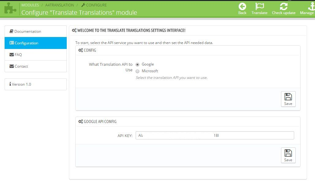 Translate Translations Prestashop Module - Configuration tab