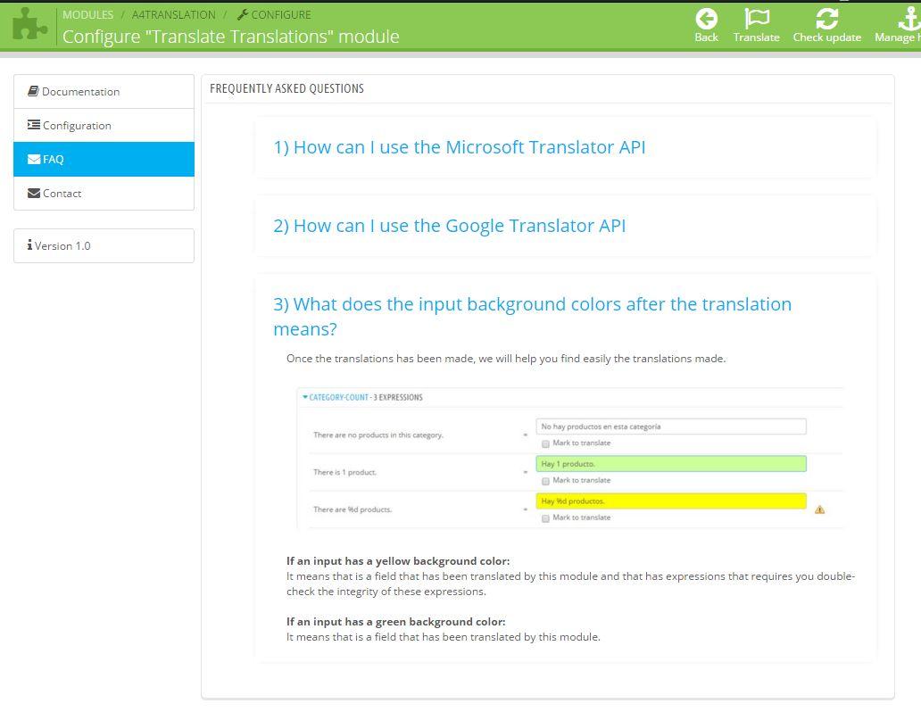 Prestashop Module Translate Translations - faq