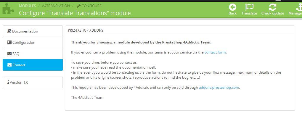 Prestashop Module Translate Translations - contact tab