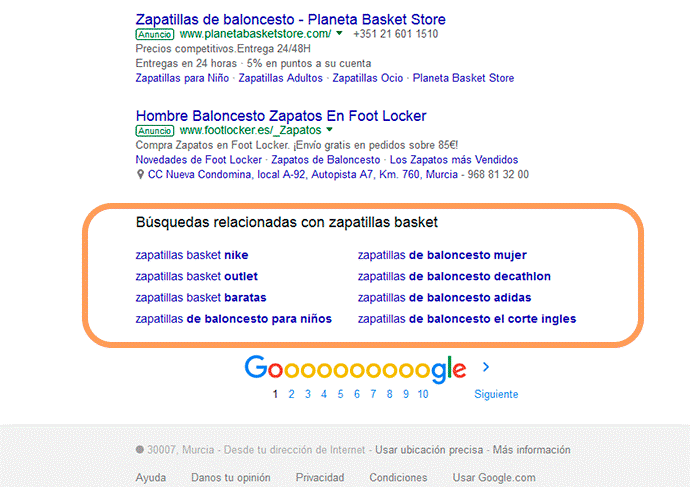 palabras clave relacionadas haciendo una búsqueda en Google