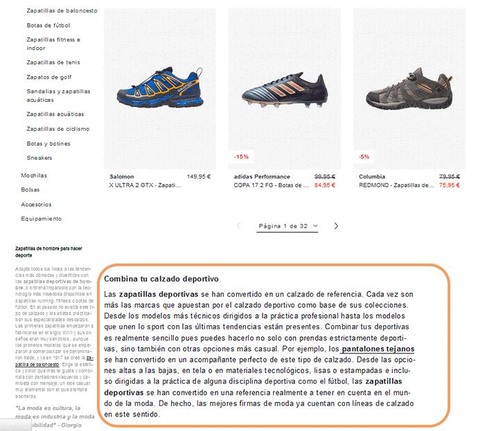 categoría de una famosa tienda online de calzado.